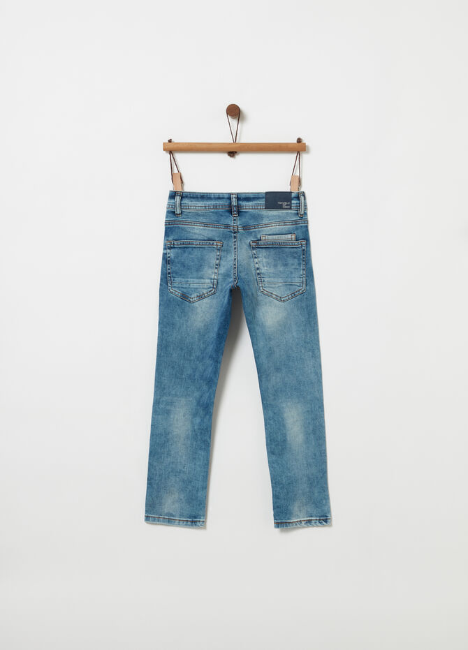 Slim-fit washed-effect jeans with five pockets