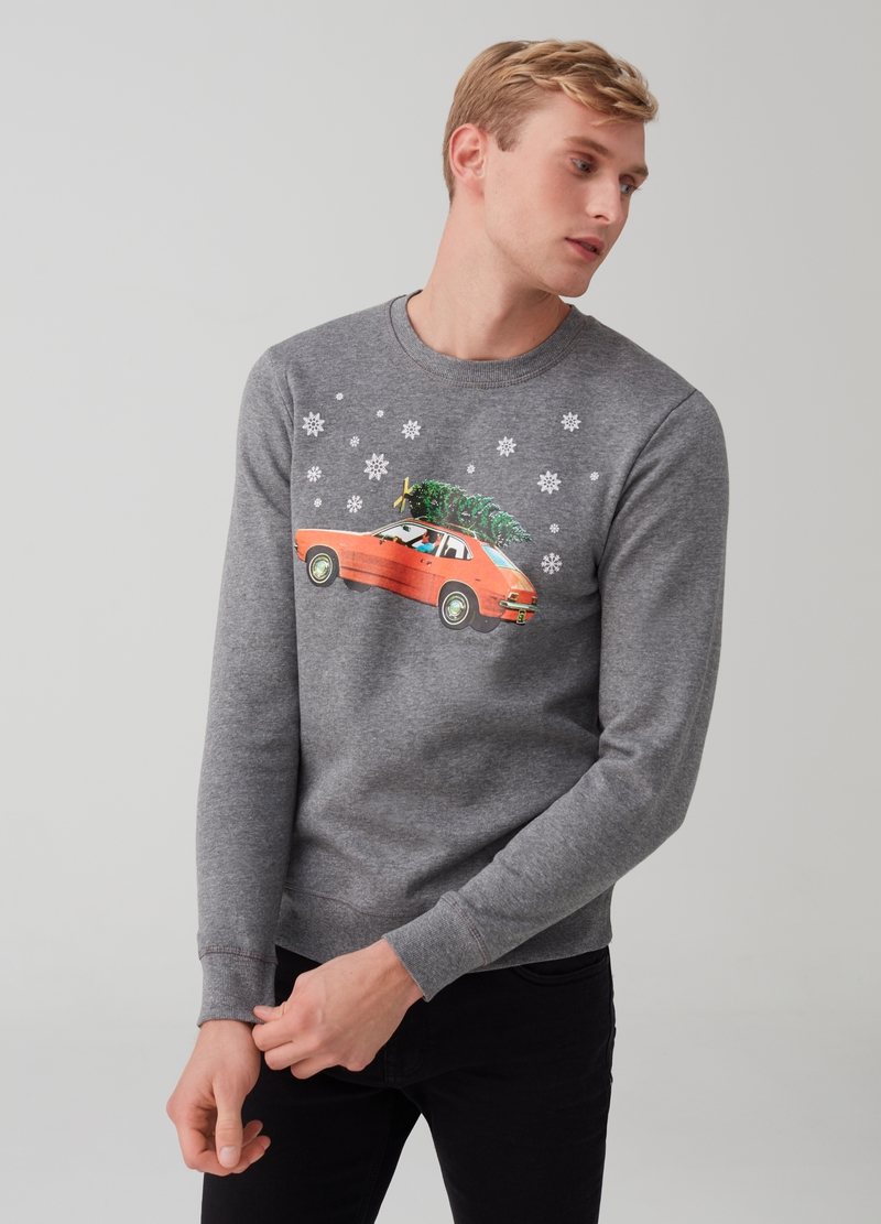 Mélange sweatshirt with Christmas print image number null