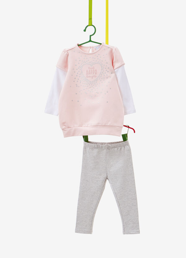 Tracksuit with glitter polka dots and faux layer