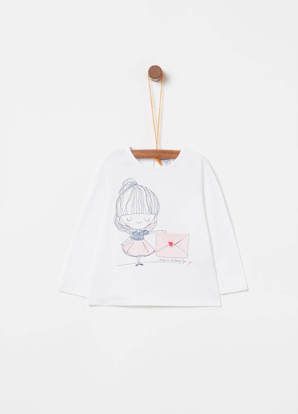 T-shirt in biocotton stretch stampa bambina