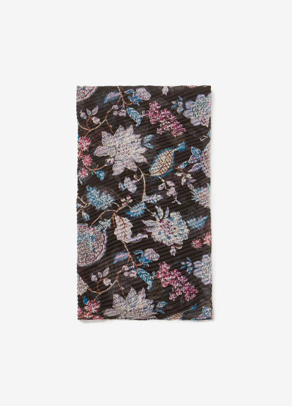 Floral pleated pashmina