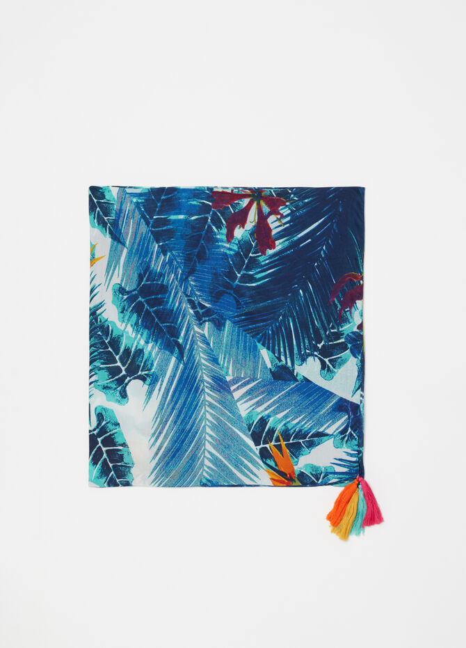 Pashmina with tropical pattern