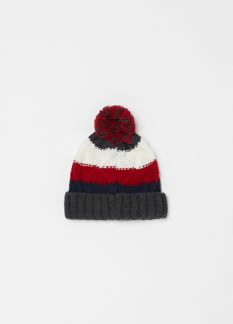 Knitted hat with braided striped weave image number null