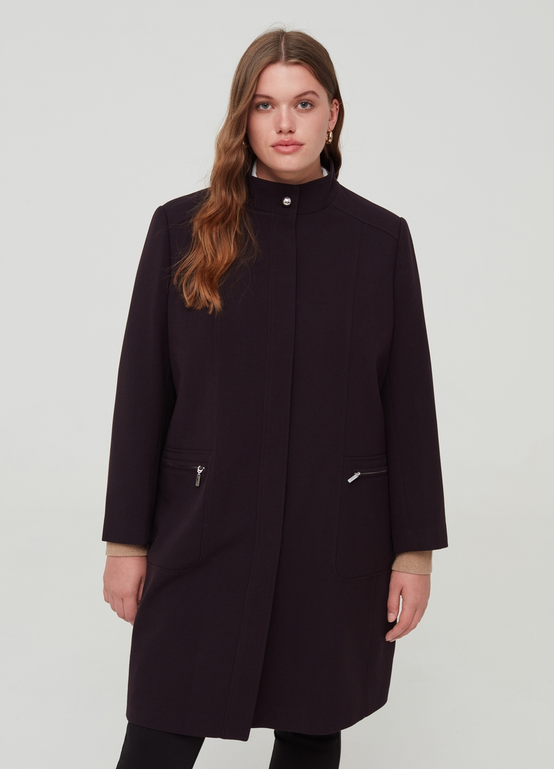 Curvy viscose blend coat with high neck image number null