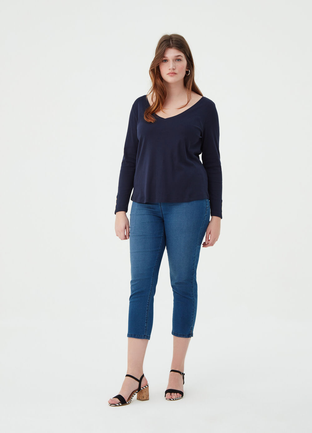 Curvy BCI T-shirt with deep V neck