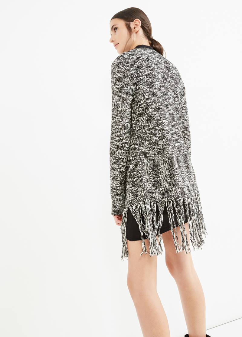 Knit cardigan with shawl neck and fringe image number null