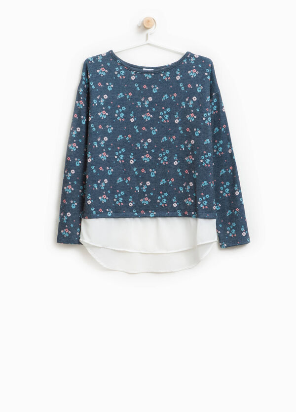 Stretch viscose floral pullover with tulle | OVS