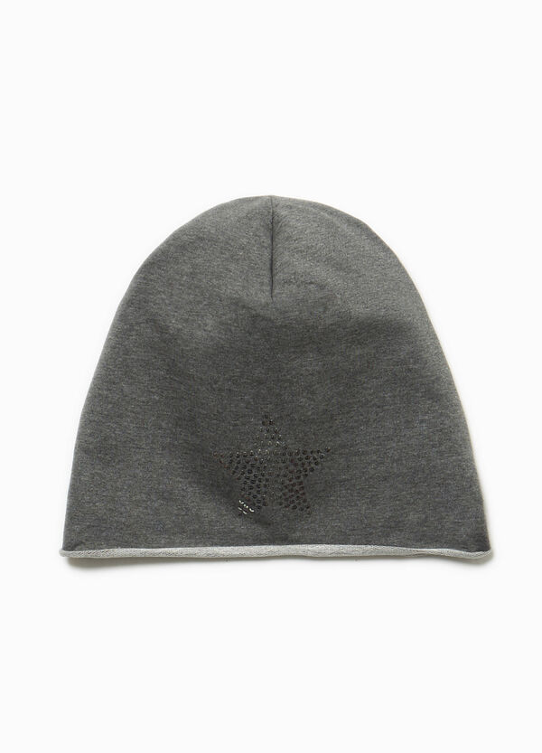 Beanie cap with star sequins