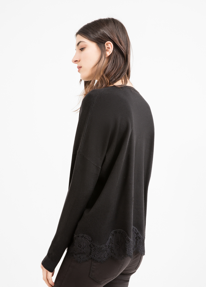 Viscose and modal blend pullover with lace image number null