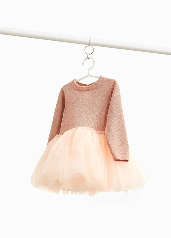 100% cotton dress with tulle skirt