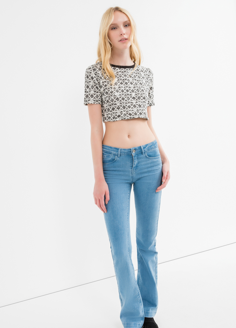 Cotton and lurex blend crop T-shirt image number null