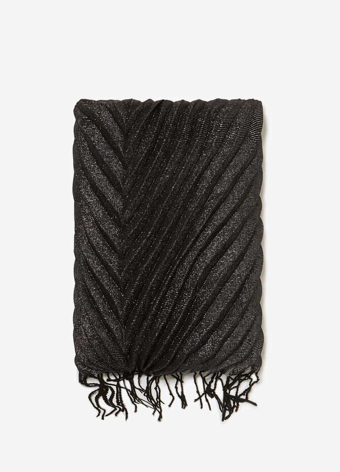 Pleated pashmina with lurex