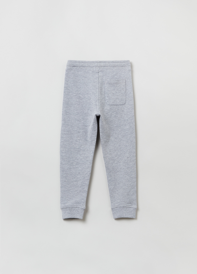 Joggers in felpa mélange con coulisse image number null