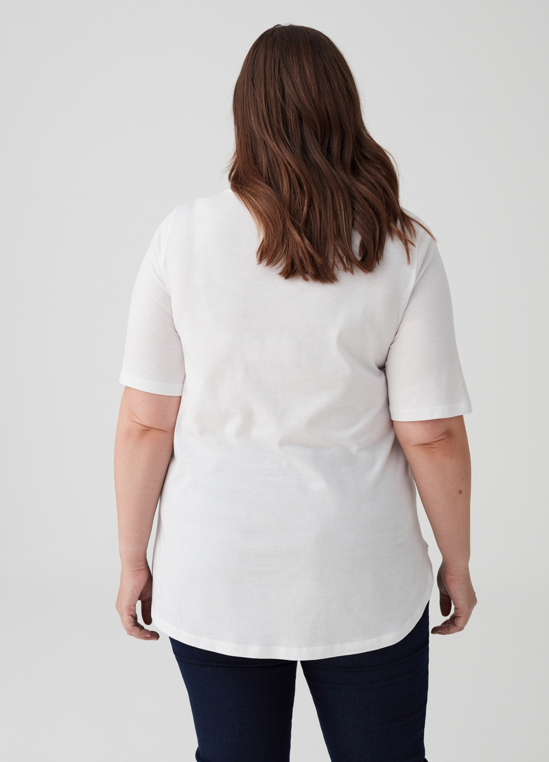 T-shirt puro cotone floreale Curvy image number null