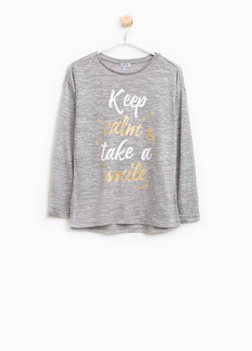 Viscose pullover with lettering print