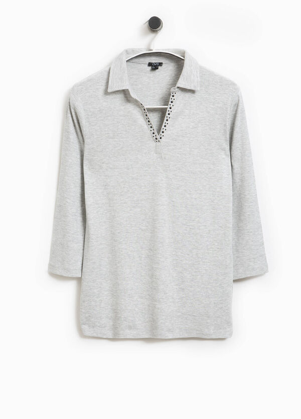 Smart Basic cotton polo shirt with studs | OVS
