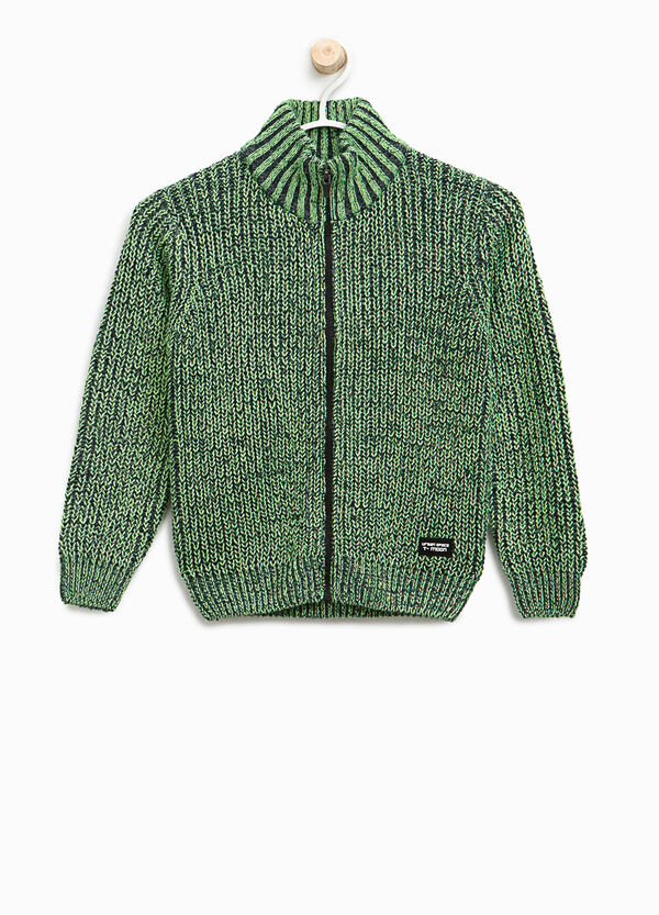 Knitted cardigan with high neck and zip | OVS