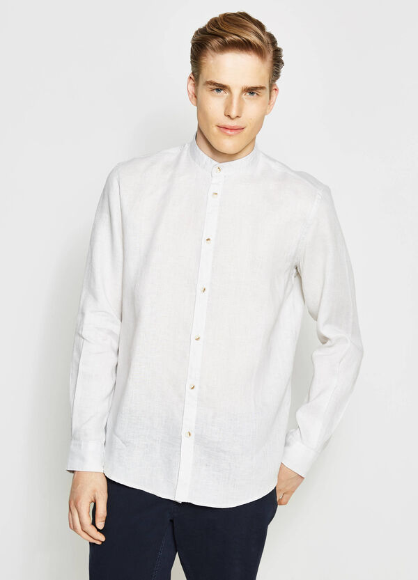 Casual shirt with patterned linen inserts | OVS