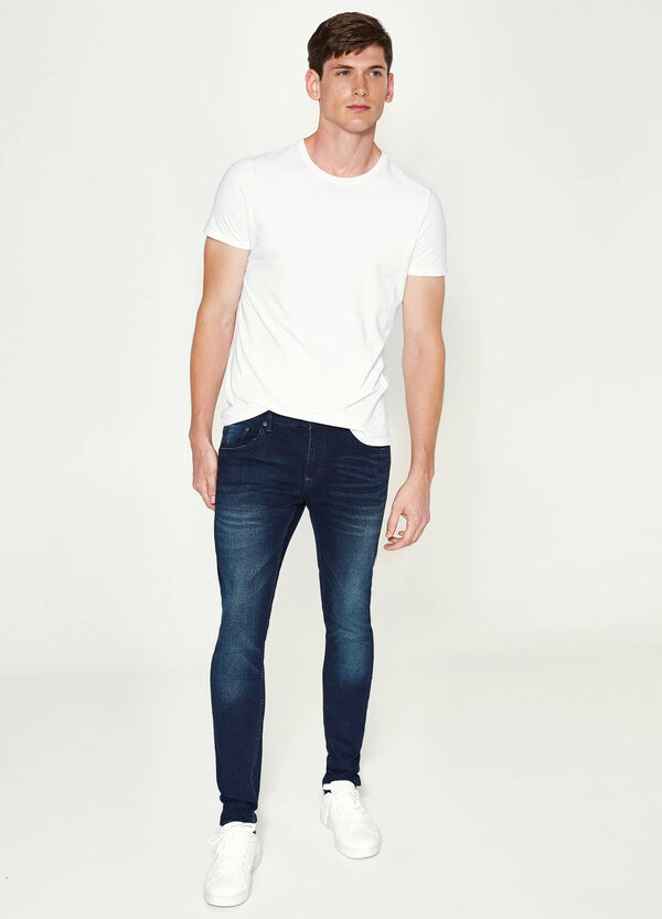 Super-skinny-fit worn-effect stretch jeans | OVS
