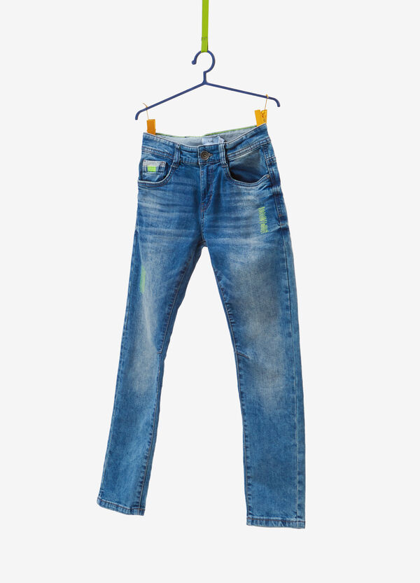 Worn-effect slim-fit stretch jeans with stitching