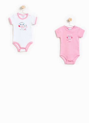 Two-pack bodysuits in 100% cotton with print