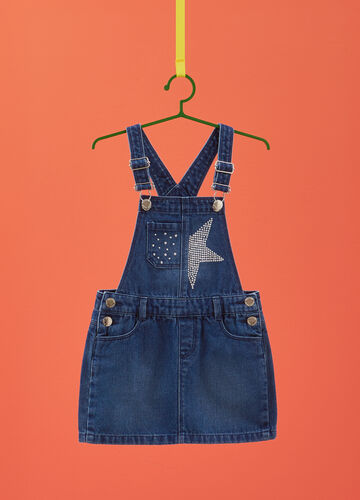 Denim dungarees with diamantés