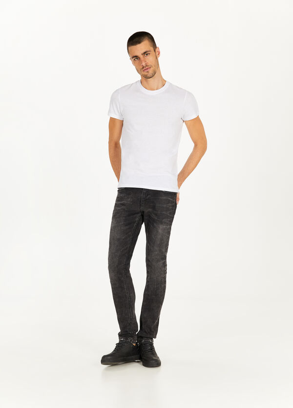 Slim-fit, misdyed stretch jeans