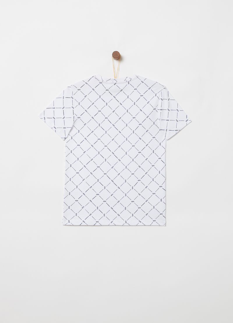 T-shirt puro cotone stampa geometrica image number null
