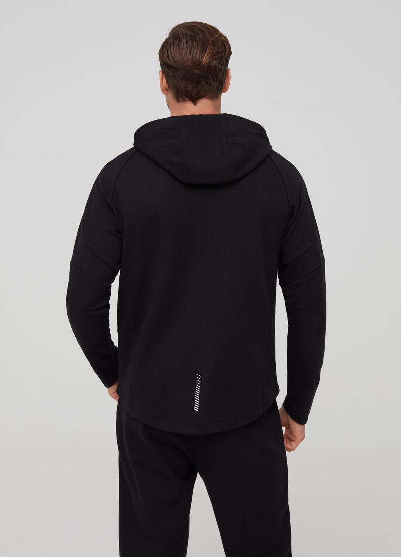 Full-zip sweatshirt with high neck and hood image number null
