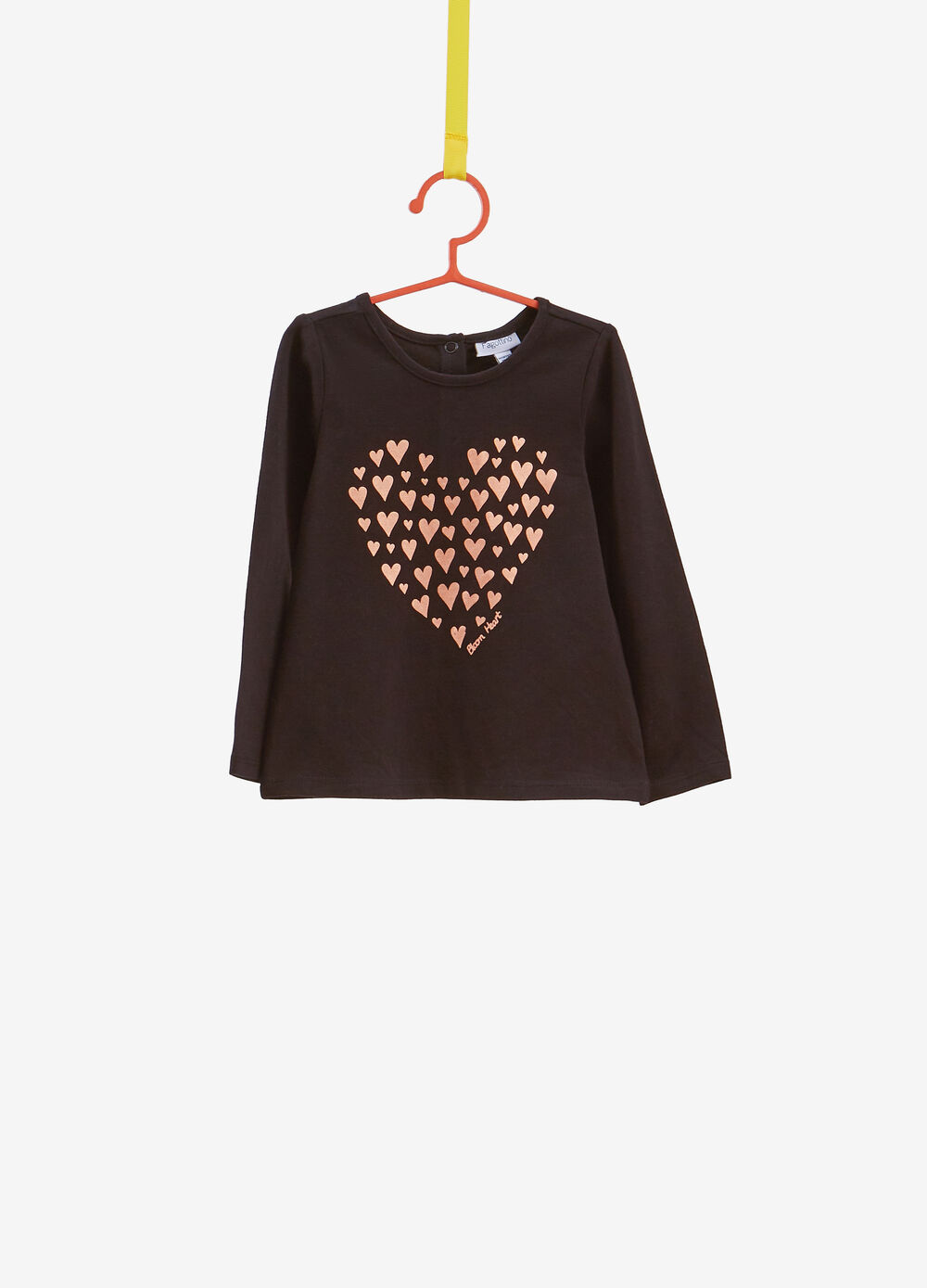 Stretch cotton T-shirt with heart print