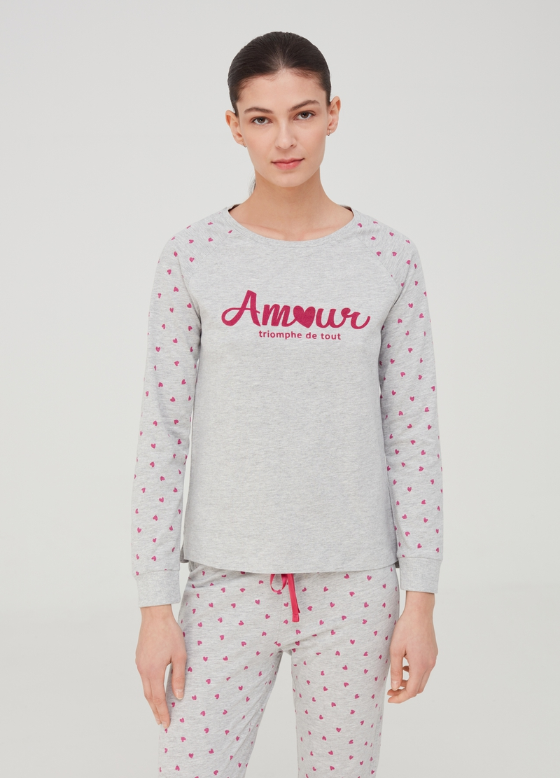 Organic cotton and viscose pyjamas with hearts image number null