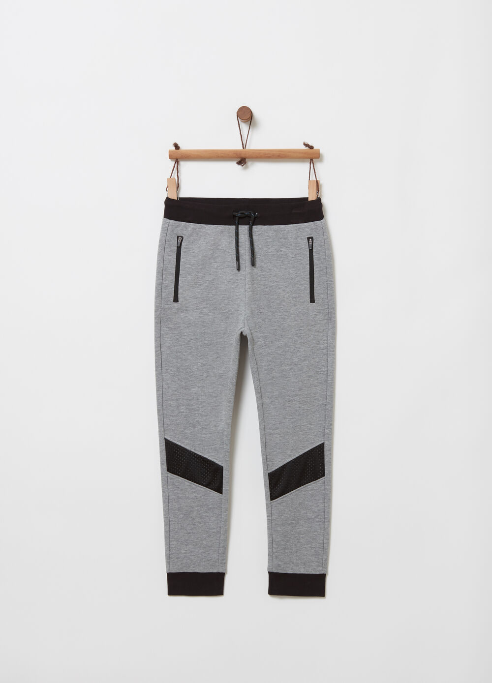 Trousers in French Terry with technical fabric