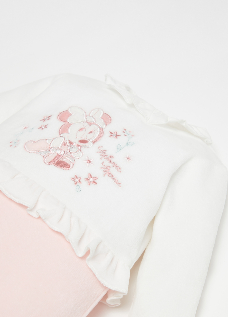 Onesie with feet and Disney Minnie Mouse embroidery image number null
