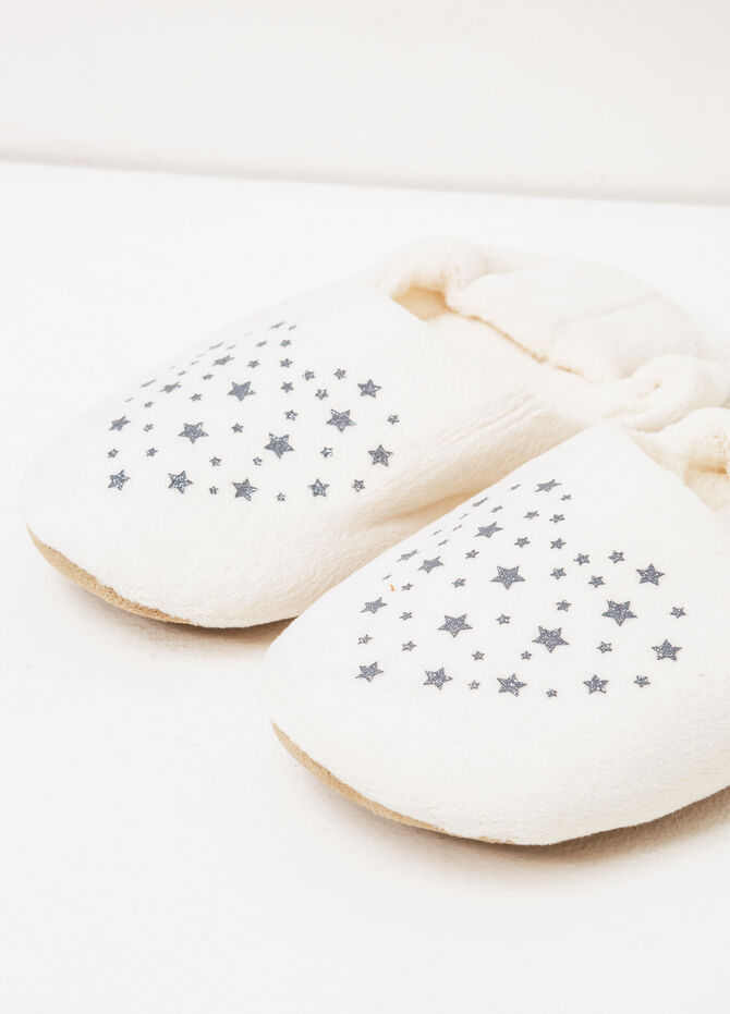 Solid colour star print slippers