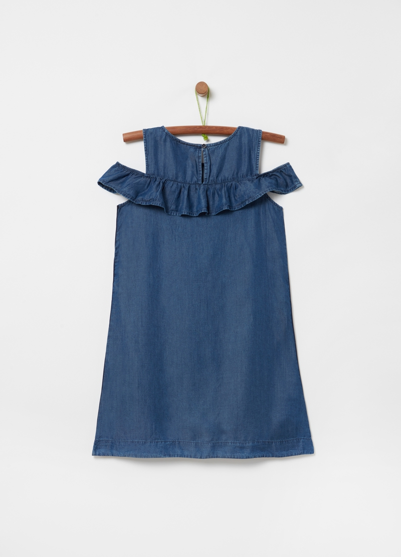 Denim-effect dress in 100% Lyocell image number null
