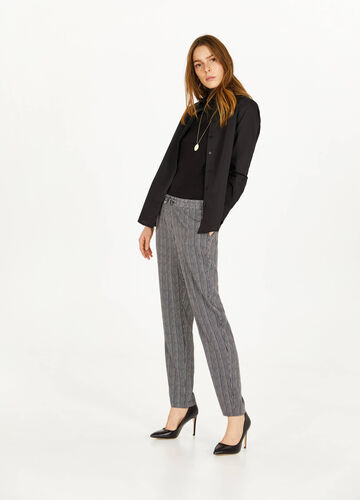 Striped trousers with drawstring