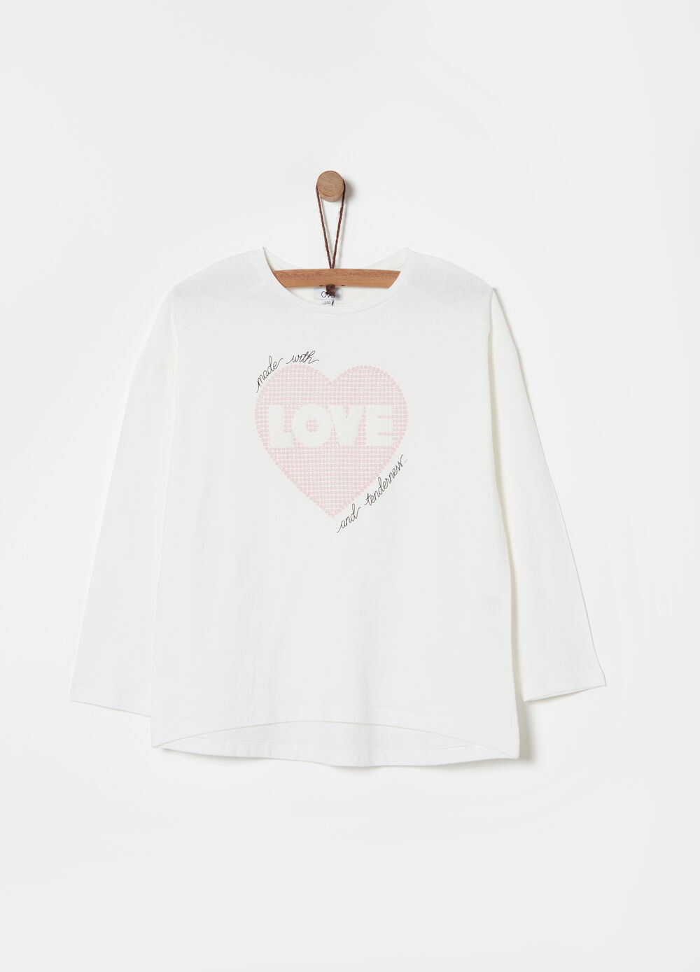 T-shirt bio-cotone stampa flock cuore
