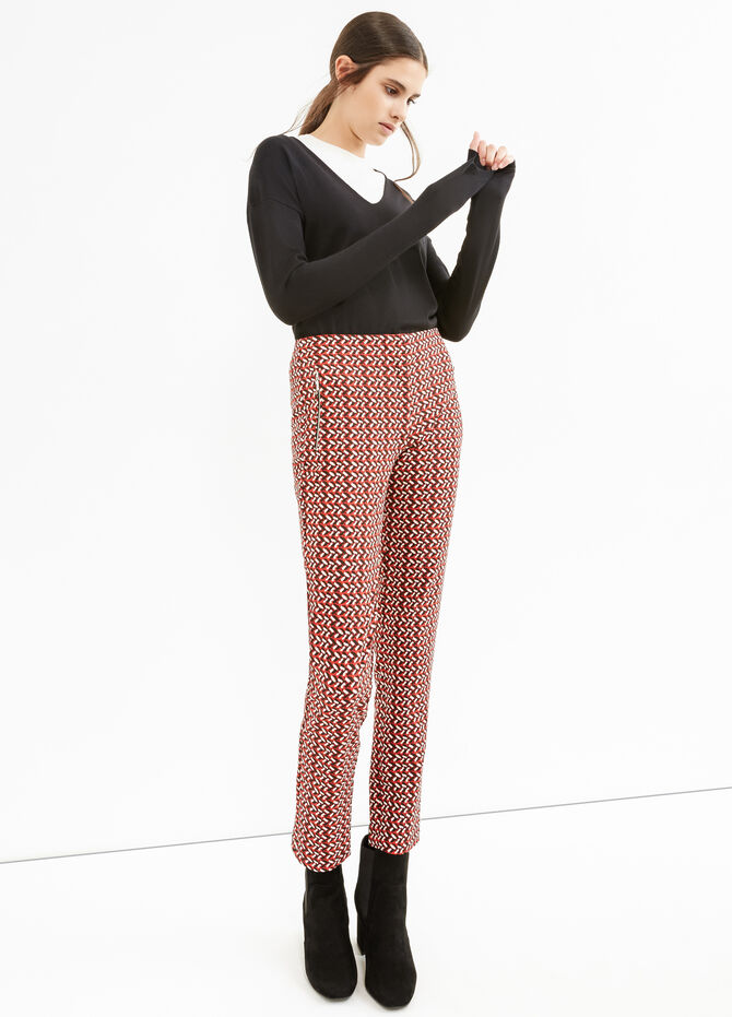 High waisted patterned stretch trousers