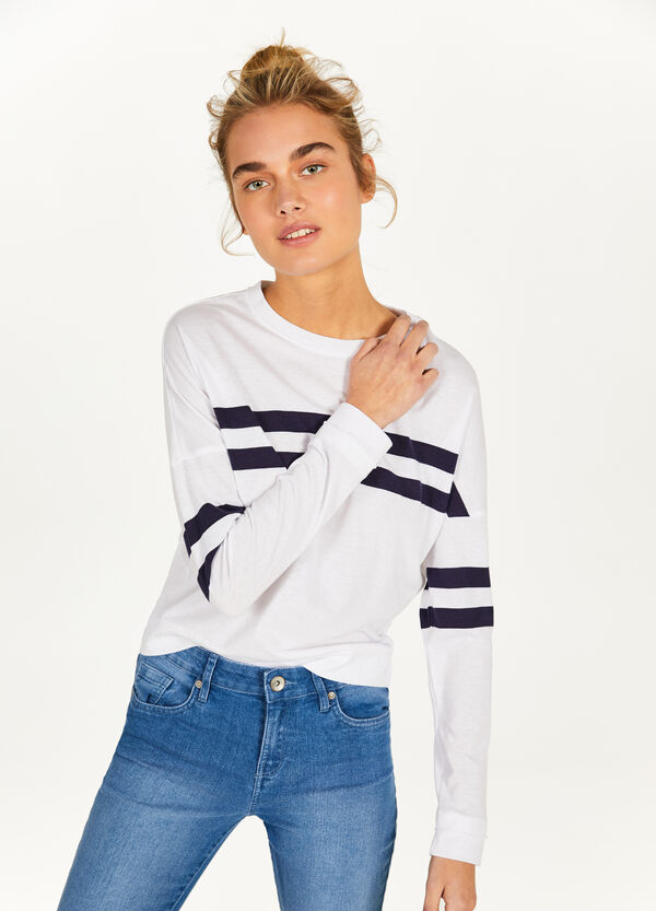 Cotton blend T-shirt with striped pattern