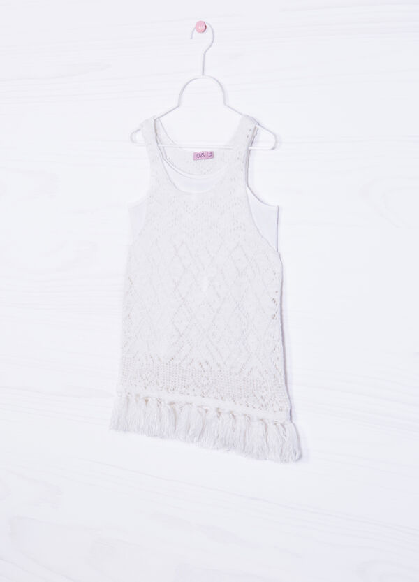 100% cotton top with fringe | OVS