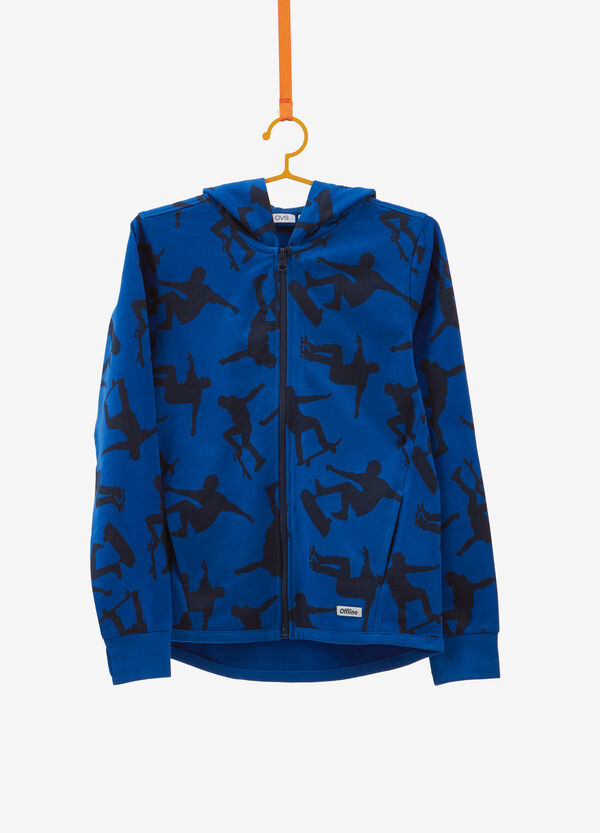 Patterned cotton sweatshirt with hood