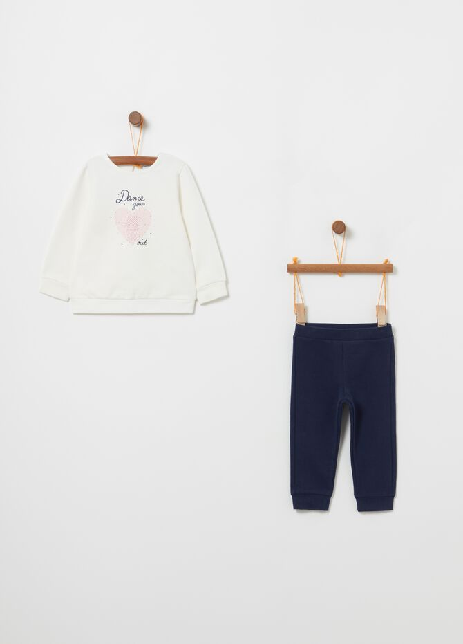 Jogging set felpa e leggings con stampa
