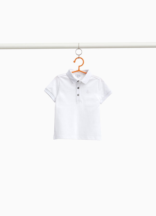 Stretch cotton piquet polo shirt with embroidery