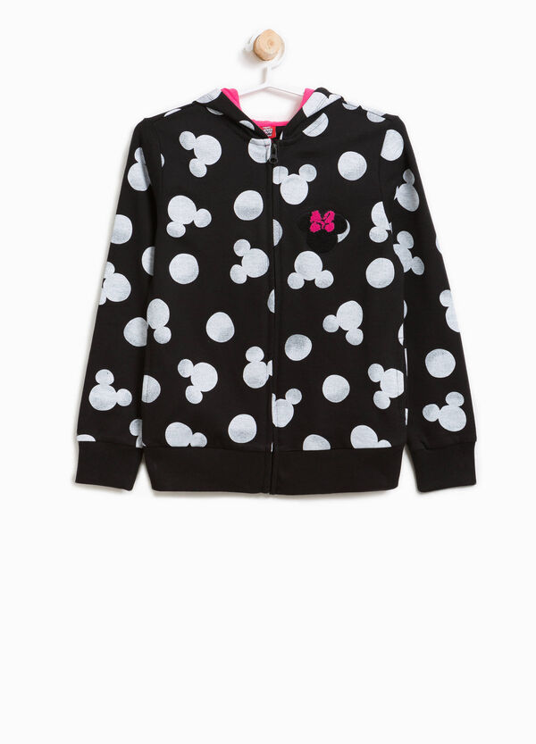 Patterned cotton sweatshirt with Minnie Mouse patch | OVS