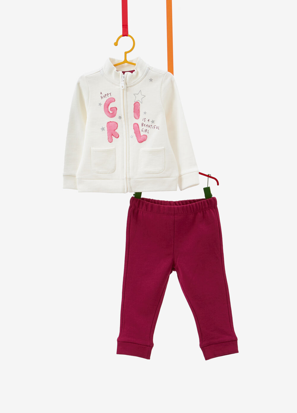 Cotton tracksuit with lettering and glitter stars print