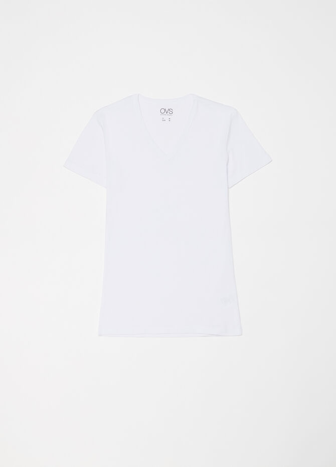 Two-pack cotton T-shirts with V neck