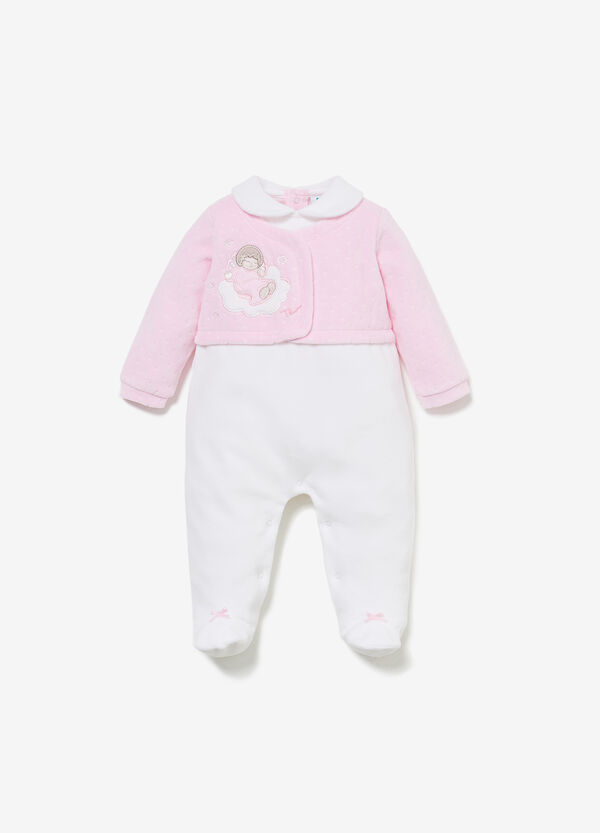 THUN two-tone romper suit with stars
