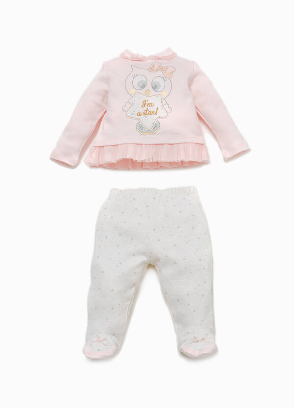 T-shirt and baby leggings outfit with tulle and print | OVS