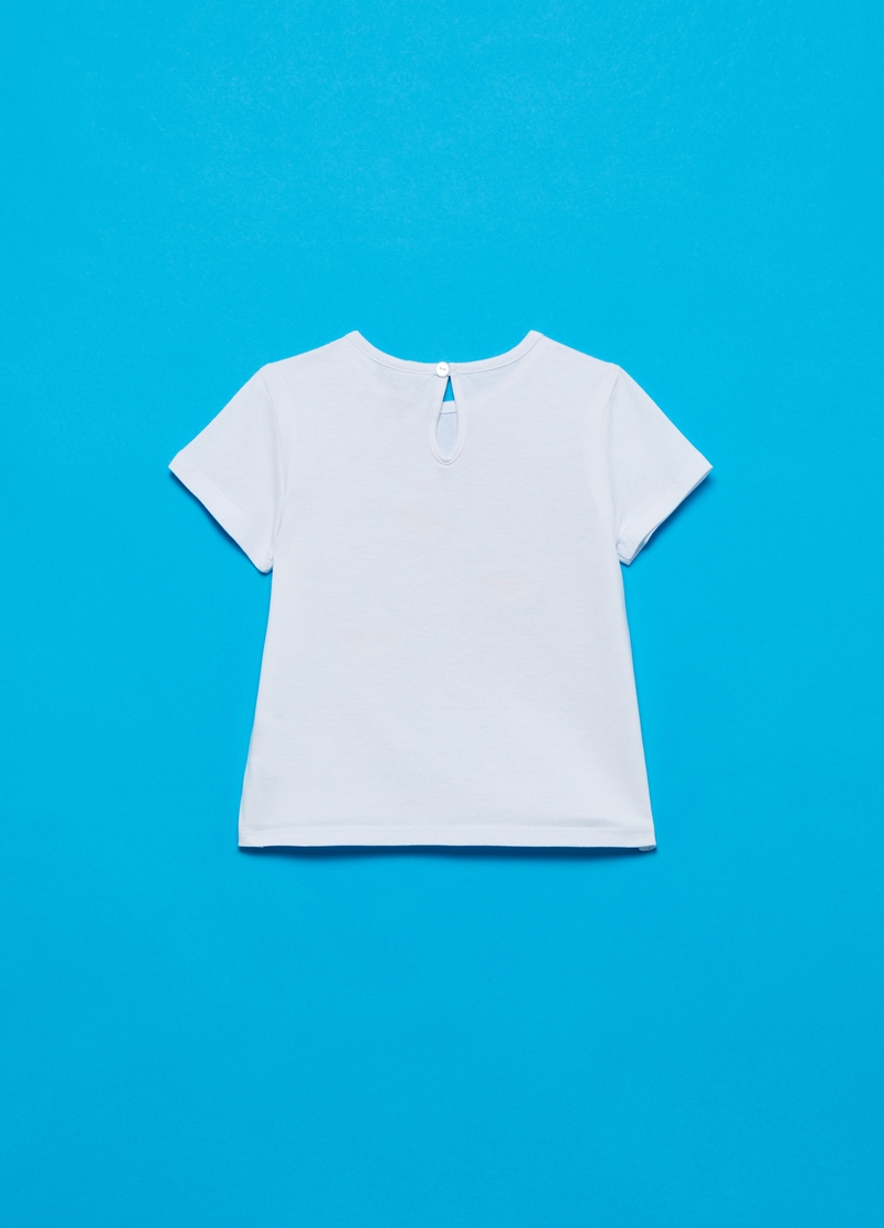 T-shirt in cotone stretch con ballerine image number null