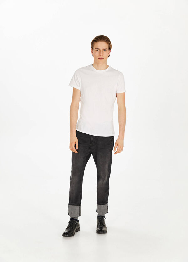 Comfort-fit stretch jeans with whiskering